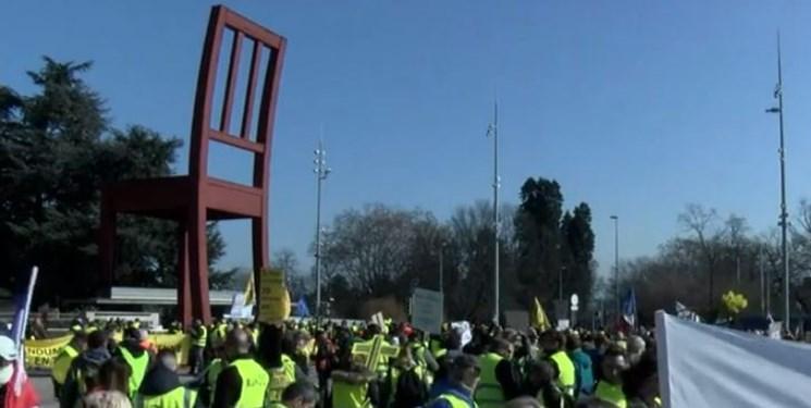 اعتراض مردم سوئیس به خشونت پلیس فرانسه علیه معترضان